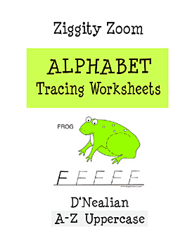 D'Nealian Alphabet Tracing Worksheets for Uppercase Letters A to Z