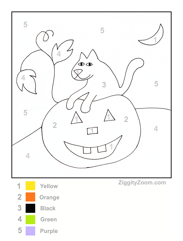 Halloween Color by Number Printable – Color by Number Worksheets for Kindergarten
