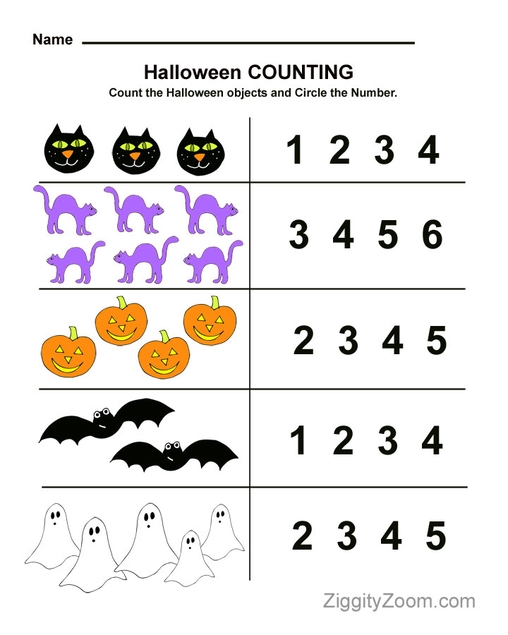 Halloween Preschool Worksheet For Counting Practice