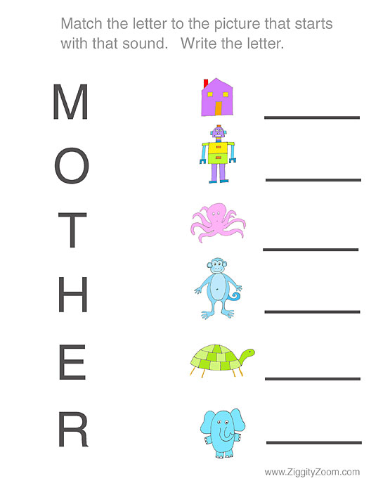 Mothers Day Letter Match Worksheet
